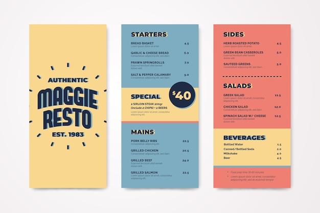 Modelo de menu em design colorido