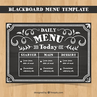 Modelo de menu em estilo de giz