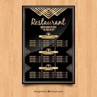 Modelo de menu exclusivo com estilo dourado