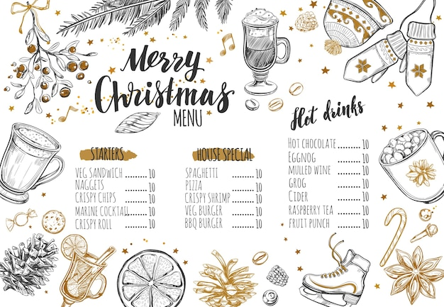 Modelo de menu festivo de inverno feliz natal.