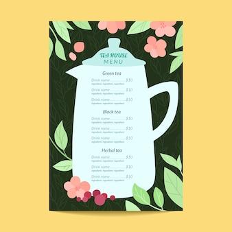 Modelo de menu floral de casa de chá