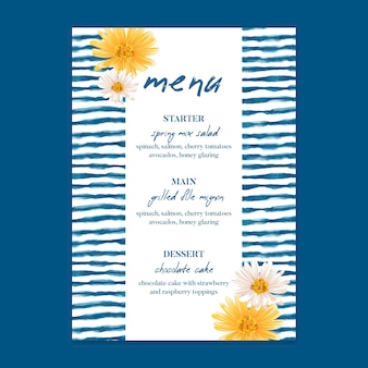Modelo de menu floral mínimo para casamento