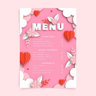 Modelo de menu gradiente de restaurante