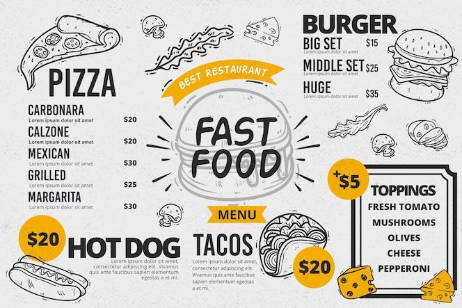 Modelo de menu horizontal de fast food