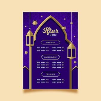 Modelo de menu iftar plano