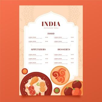 Modelo de menu indiano de design plano