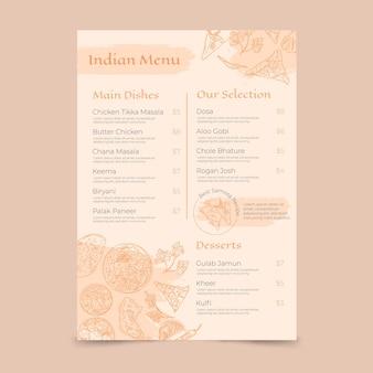 Modelo de menu indiano de gravura desenhado à mão