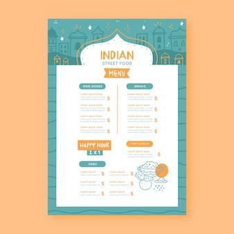 Modelo de menu indiano desenhado à mão criativa