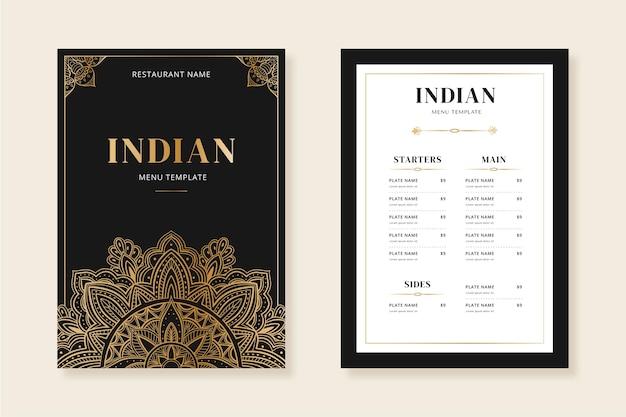 Modelo de menu indiano desenhado à mão