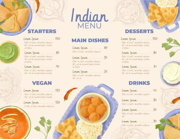 Modelo de menu indiano em aquarela