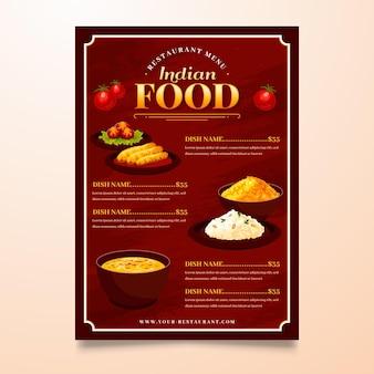 Modelo de menu indiano plano