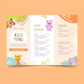 Modelo de menu infantil de restaurante
