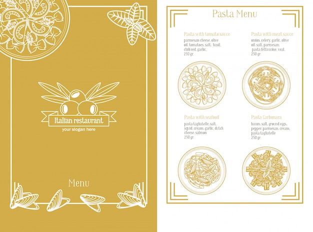 Modelo de menu italiano desenhado à mão