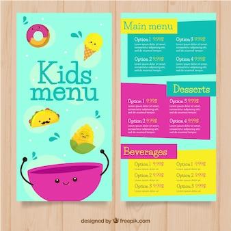 Modelo de menu kids kids colorido