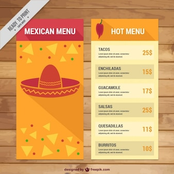 Modelo de menu mexicano com nachos