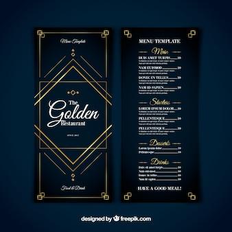 Modelo de menu moderno com ornamentos dourados