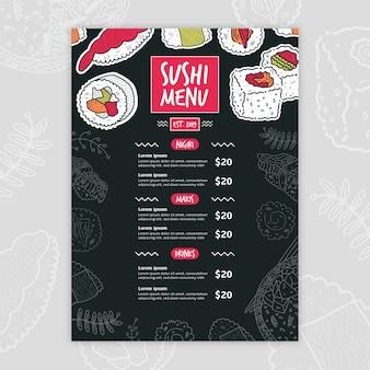 Modelo de menu moderno sushi