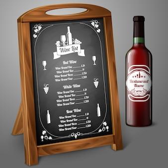 Modelo de menu na ilustração do quadro-negro