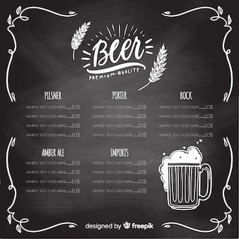 Modelo de menu oktoberfest com estilo de quadro-negro
