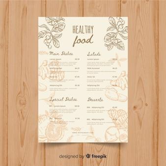 Modelo de menu orgânico vintage