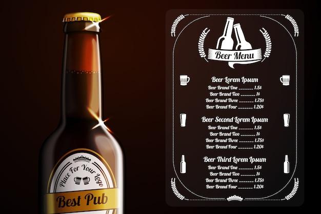 Modelo de menu para cerveja e álcool