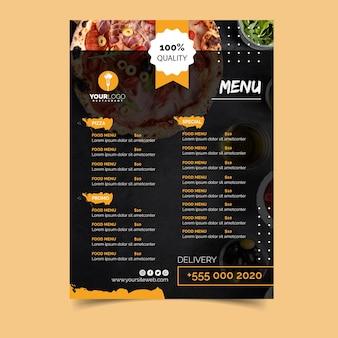 Modelo de menu para pizzaria