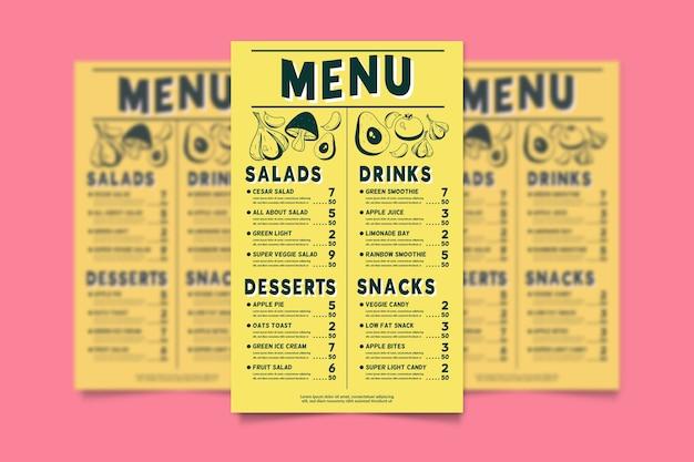 Modelo de menu para restaurante com comida saudável