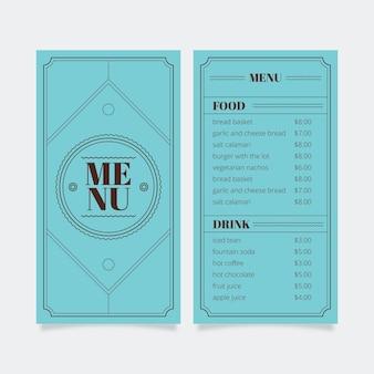 Modelo de menu para restaurante com moldura