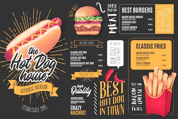 Modelo de menu para restaurante de cachorro-quente com ilustrações