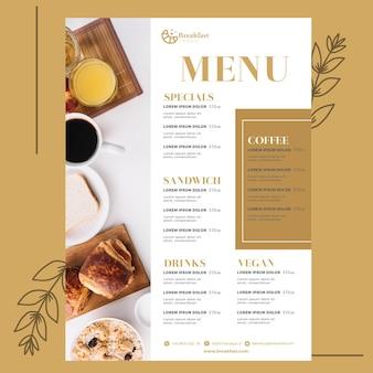 Modelo de menu para restaurante de café da manhã