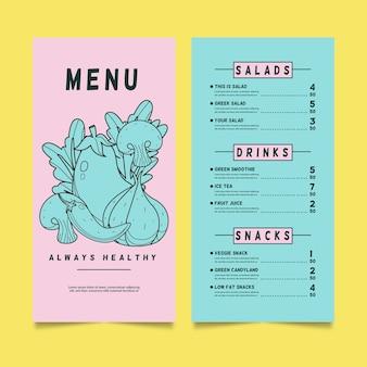 Modelo de menu para restaurante de comida saudável