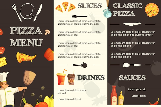 Modelo de menu para restaurante e pizzaria