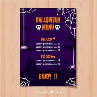 Modelo de menu plana de halloween com caveira e teias de aranha