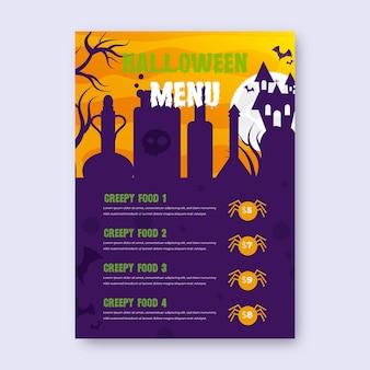 Modelo de menu realista de halloween com aranhas