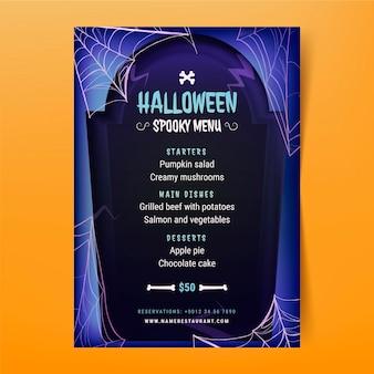 Modelo de menu realista de halloween