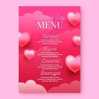 Modelo de menu realista para o dia dos namorados