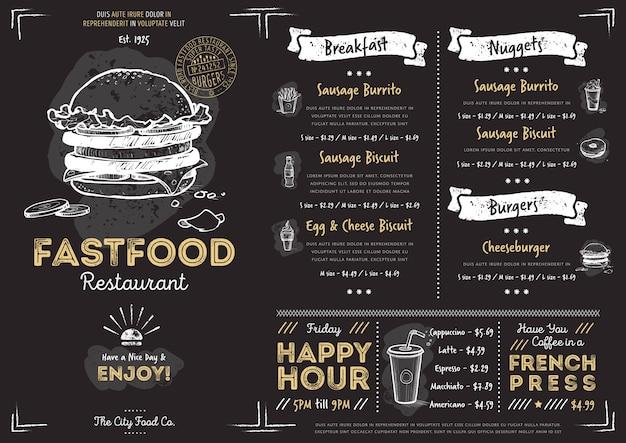 Modelo de menu restaurante café fast-food