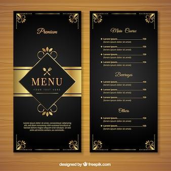 Modelo de menu retro com ornamentos dourados