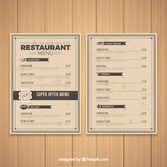 Modelo de menu retro
