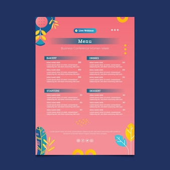 Modelo de menu rosa empresária