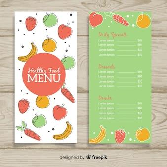 Modelo de menu saudável colorido
