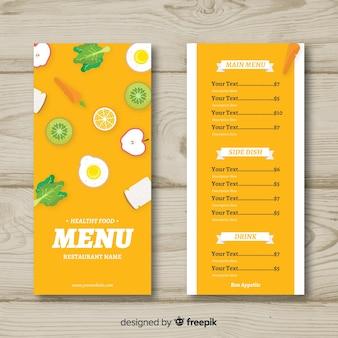 Modelo de menu saudável de comida plana