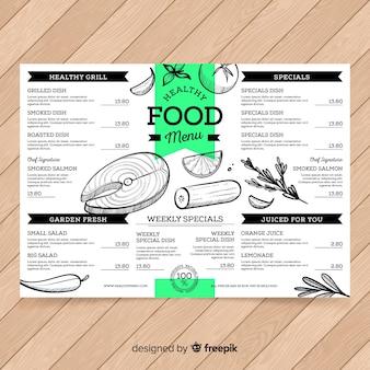 Modelo de menu saudável de mão desenhada