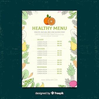 Modelo de menu saudável de moldura vegetal
