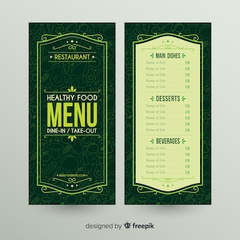 Modelo de menu saudável de quadro ornamentais