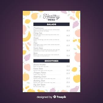 Modelo de menu saudável de silhuetas de frutas
