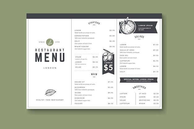 Modelo de menu saudável desenhado à mão