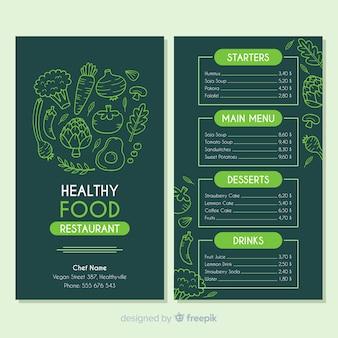 Modelo de menu saudável escuro desenhado de mão