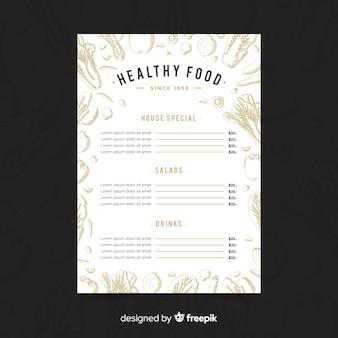 Modelo de menu saudável incolor de mão desenhada