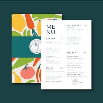 Modelo de menu saudável para o restaurante.